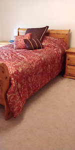 Pine Sleigh Bed and frame - Queen