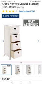 4 Drawers white Mia Heart storage only £25 each. Real Bargains Clearan