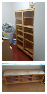Ikea pine TV stand and bookcase with glass doors