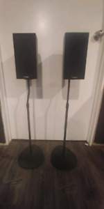 Pair of Precision Acoustics bookshelf speakers w/stands