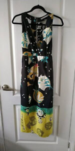 Black dress with pattern (teal, yellow, mustard, pink, and white