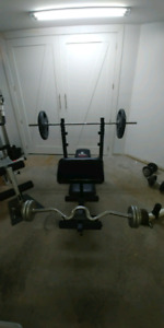 Weider 146 incline bench press combo with weights and bars