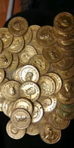 NOVELTY BRASSY COIN PILE PAPERWEIGHT+SILVER HALF DOLLAR.10.00