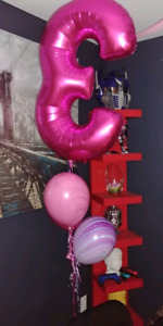 Pink birthday 3 with balloons