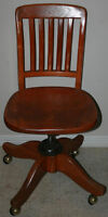 Vintage / Antique Solid Wood Bankers Chair