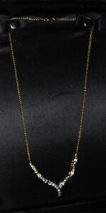 29 Diamond 14kt Gold Chevron Necklace.