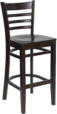 Walnut Wood Finished Ladder Back Restaurant Bar Stool With Matching Wood Seat