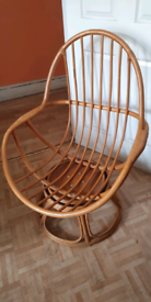 Vintage Bamboo Swivel Chair, Retro Boho Tiki Rattan
