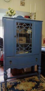 Bold & Beautiful Blue Shabby Chic Antique China Cabinet