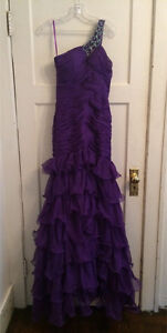 2 Purple Ruffle Tier Asymmetrical, Prom, Bridesmaid Dresses