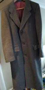Men's wool blend gray overcoat - nice condition