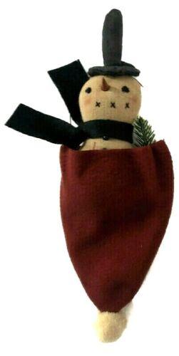 Snowman iChristmas Ornament n Santa Hat Primitives by Kathy