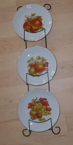 3 decorative fall-themed plates from Wetsern Germany
