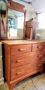 Mid century solid wood. Stained 3 drawer dresser