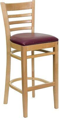 Natural Wood Finished Ladder Back Restaurant Bar Stool With Burgundy Vinyl Seat