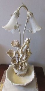 collectable victorian style table lamp with water fall