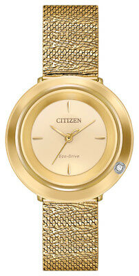 Citizen Eco-Drive Women's Ambulina Champagne Dial Mesh 32mm Watch EM0642-52P