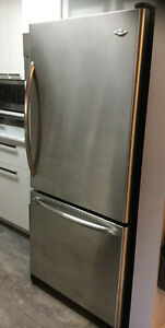 Stainless Steel Bottom Mount Fridge - Excellent Condition