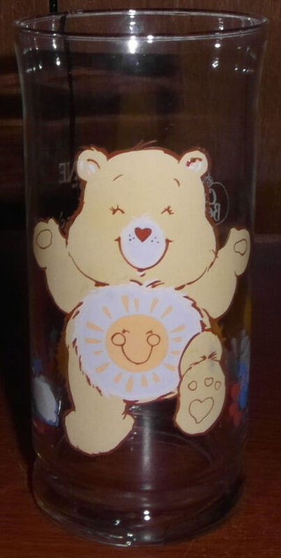 "* Vintage Care Bears 6"" Drinking Glass w/ Funshine Pizza Hut Promo Cup"