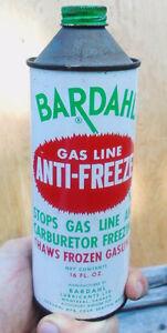 SCARCE 1950's VINTAGE BARDAHL GAS LINE ANTI-FREEZE (16 OZ.) CAN