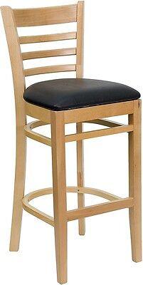 Natural Wood Finished Ladder Back Restaurant Bar Stool With Black Vinyl Seat