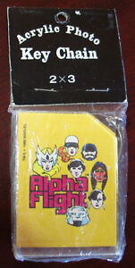 "ALPHA FLIGHT ACRYLIC PHOTO KEY CHAIN 1986 MARVEL (3""x2"") MIP"