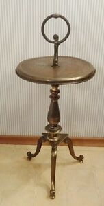 ANTIQUE PEDESTAL BRASS SIDE TABLE Strathcona County Edmonton Area image 1