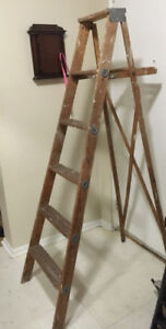 Antique wooden painting ladder