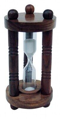 Klassische Sanduhr - Stundenglas - Holz und Glas mit 3 Säulen 1XL - sc-9174