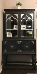 Beautiful Refinished Solid Maple Hutch/China Cabinet!
