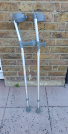 Pair of adjustable walking crutches