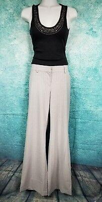 EXPRESS Light GRAY w/Gray STRIPED Low Rise Flare Dress Pant Career Slack- SZ -