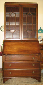 Antique cherry drop front desk with glass book case