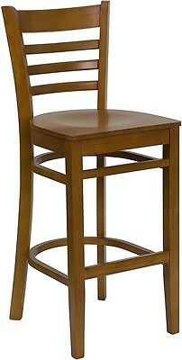 Cherry Wood Finished Ladder Back Restaurant Bar Stool With Matching Wood Seat