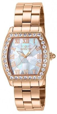 Women's Invicta 14529 Angel Swiss S/S Rose-Gold Morganite Bezel MOP Dial Watch
