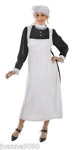 LADIES-LONG-VICTORIAN-MAID-FANCY-DRESS-COSTUME-AND-MOB-CAP-ONE-SIZE-10-12-14-16