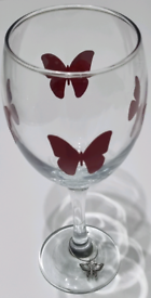 Wine glass with charm. Butterfly's.