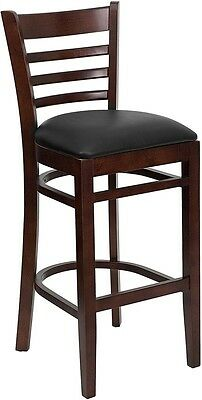 Mahogany Wood Finished Ladder Back Restaurant Bar Stool With Black Vinyl Seat
