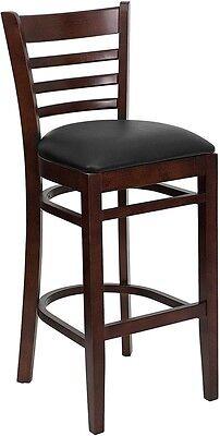 Mahogany Wood Finished Ladder Back Restaurant Bar Stool With Black Vinyl Seat