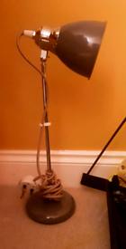Beautiful Grey Bedside / Desk Lamp - As new!!