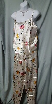 "JUST LOVE CAMI/LONG PANT 2 PIECE TAN FLORAL PAJAMA SET SZ XL GIFT 42"" BUST"
