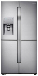 "36"" SS counter depth 4 door water & ice Fridge Samsung $1899"
