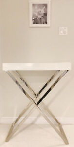 West Elm Bar - Large White Tray with Glossy Nickel Tall Stand