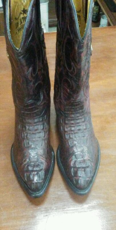 Mens, Cowboy, Boots, Hornback, Alligator, Blackcherry, 8, D