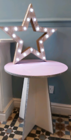 Fabulous wooden side table, bedside table, silver lilac white