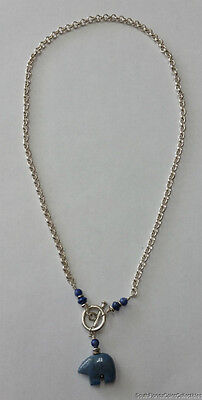 UNIQUE WELL MADE CIRCLE LINK BLUE BEAR GEMSTONE STERLING SILVER NECKLACE 18