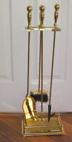 4 Piece Polished Brass Fireplace Tool Set