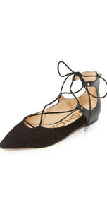 Sam Edelman ~ Rosie Suede & Polished Leather Lace Up Flats $295