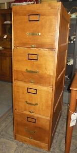 LOVELY ANTIQUE HARD TO FIND 4 DRAWER MAPLE WOOD FILING CABINET