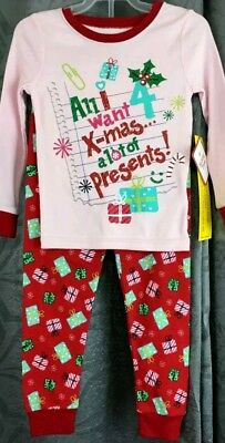 girls toddler snug fit 12M pajama All I want for Christmas a lot of presents!